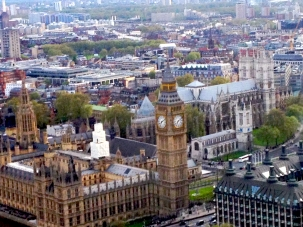 Big Ben and Westminster Abbey from the London Eye