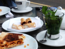Lunch: mint tea, cannoli, chicken and red pesto sandwich